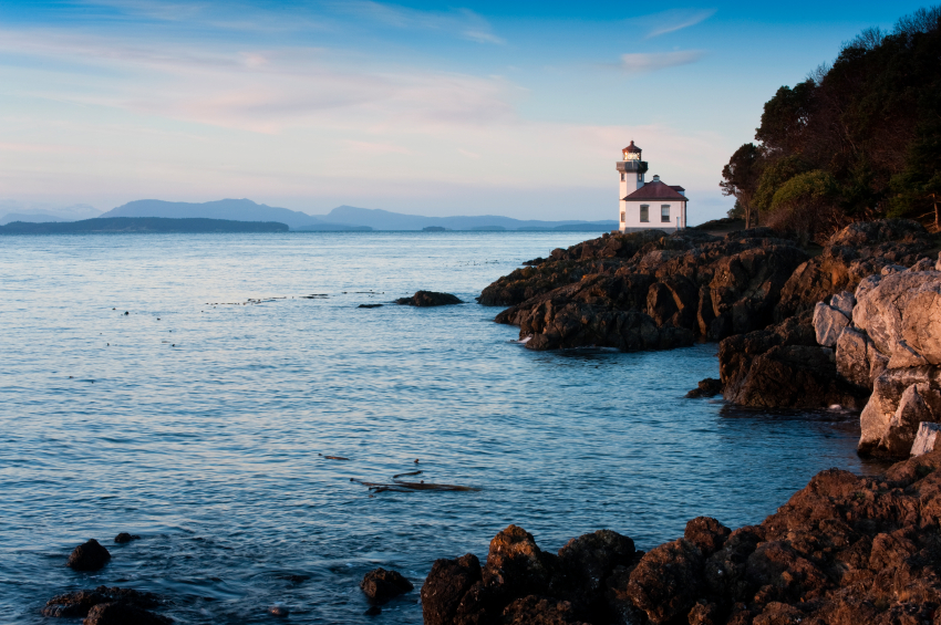 The Lime Kiln Lighthouse sits on Haro Strait on the west coast of San Juan Island in the Puget Sound area of Washington State.