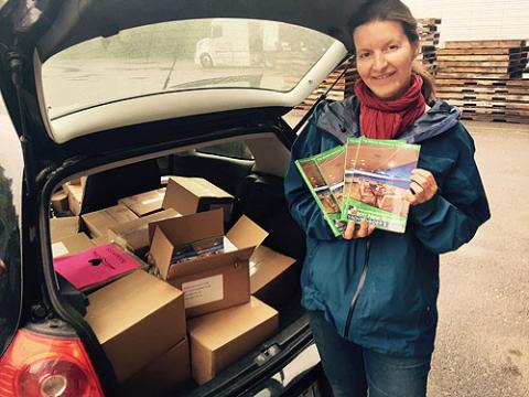 Anne loading up at the printer to make an early delivery run this year.