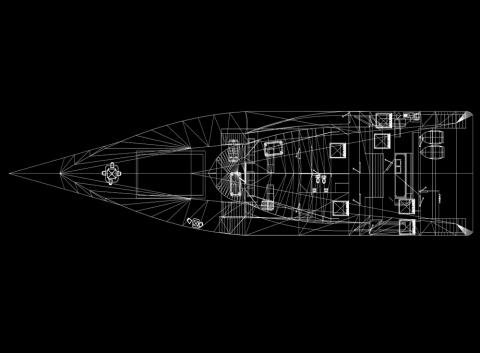 Hybrid yacht blueprint